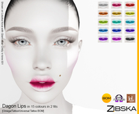 Zibska ~ Dagon Lips in 15 colors in 2 fits with Omega appliers, tattoo and universal tattoo BOM layers