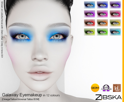 Zibska ~ Galaway Eyemakeup in 12 colors with Omega appliers, tattoo and universal tattoo BOM layers