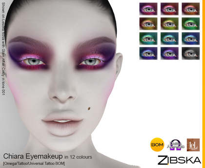 Zibska ~ Chiara Eyemakeup in 12 colors with Omega appliers, tattoo and universal tattoo BOM layers