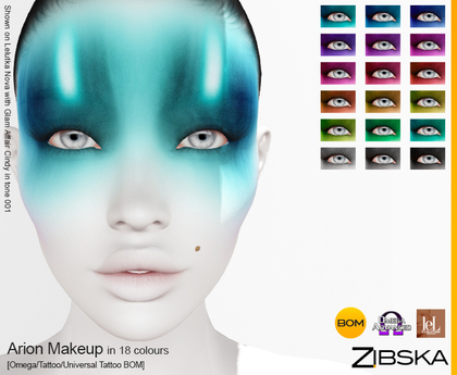 Zibska ~ Arion Makeup in 18 colors with Omega appliers, tattoo and universal tattoo BOM layers