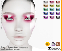 Zibska ~ Dagon Eyemakeup in 15 colors with Omega appliers, tattoo and universal tattoo BOM layers
