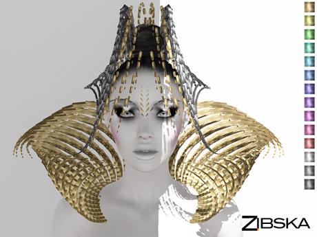 Zibska ~ Dagon color change headpiece, shoulders and brow