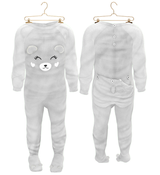 * {.:Little Stars.:} * Teddy Footie PJ - Gray (non-fitted) TD Baby & Bebe