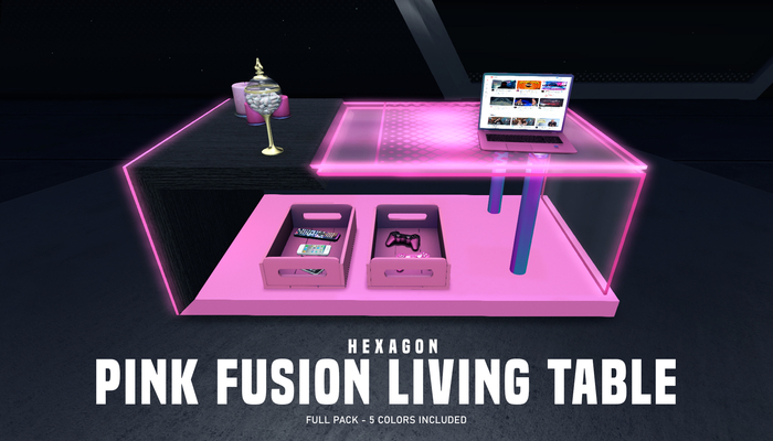 HEXAGON pink fusion living table - full pack