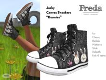 """Freda"" Jacky Canvas High Top Sneakers, printed easter bunnies ankle chucks black Maitreya Belleza Rebirth Slink Classic"