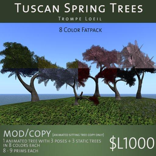 Trompe Loeil - Tuscan Spring Trees Fatpack