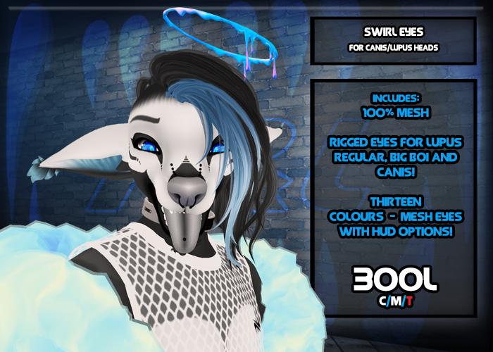 F&L - Swirl Eyes - Canis & Lupus Head Mod  - Mesh Eyes w/ Hud
