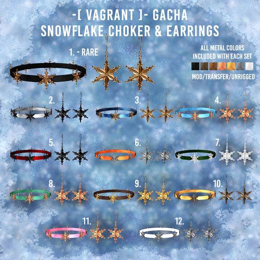 10. -[ vagrant ]- Snowflake Choker & Earrings - Gold