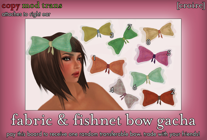 [croire] Fabric & Fishnet bow (Fatpack/8 Bows) Cute girly teen kid child hipster kitsch kawaii big hairbows in patterns
