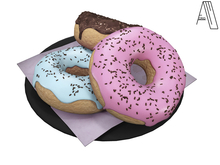 Acrid. a plate of doughnuts (black) [Add]