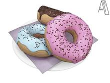 Acrid. a plate of doughnuts (white) [Add]