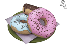 Acrid. a plate of doughnuts (green) [Add]