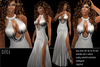 BD-Cayla silver sexy erotic dance evening ball gown slit side watell sculpty collar