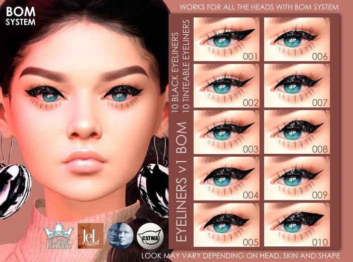 BOM Eyeliner v1 - Black & Tinteable - White Queen