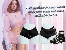 Lunar - Fany Shorts & Socks & Shoes - Black