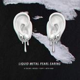 = DAE = Liquid metal pearl earrings pack