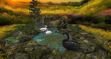 CJ Cascading Pond - Swan Lake - animat. white Swan