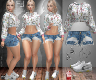 Fatal Fashion - Outfit 208: Cropped Hoodie, Shorts Jeans, Sneakers, Earrings