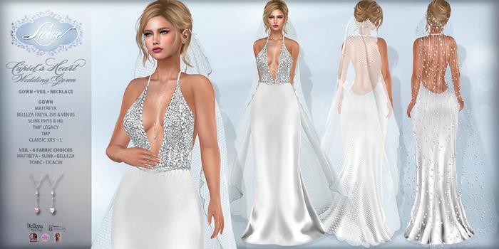 *Lurve* Cupid's Heart Wedding Gown and Veil - Maitreya - Belleza - Slink - TMP Legacy - TMP