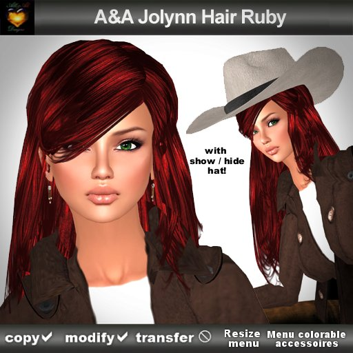 A&A Jolynn Hair Ruby (long straight flexi with show/hide/menu colorable cowboy hat)