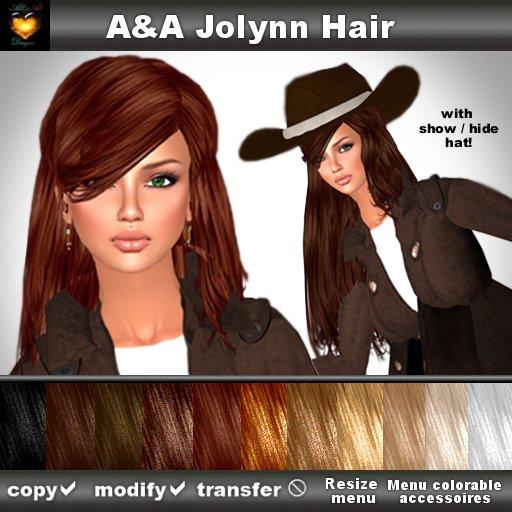 A&A Jolynn Hair DEMOs (long straight flexi with show/hide/menu colorable cowboy hat)