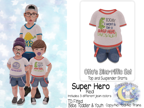 {SMK} Otto's Dino-riffic Set | Super Hero - Red | Bebe Toddler & Youth + Toddleedoo Fitted