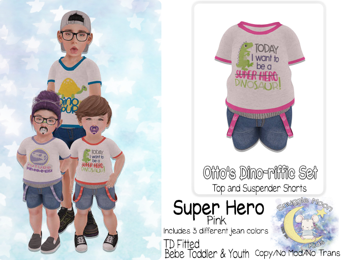 {SMK} Otto's Dino-riffic Set | Super Hero - Pink | Bebe Toddler & Youth + Toddleedoo Fitted