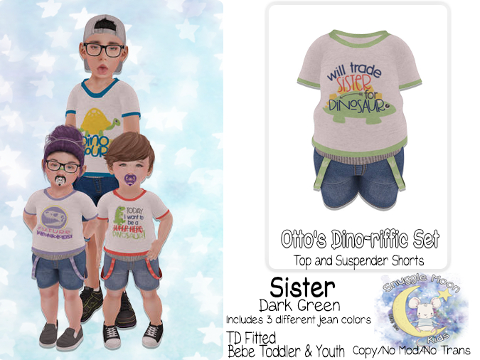 {SMK} Otto's Dino-riffic Set | Sister - Dark Green | Bebe Toddler & Youth + Toddleedoo Fitted
