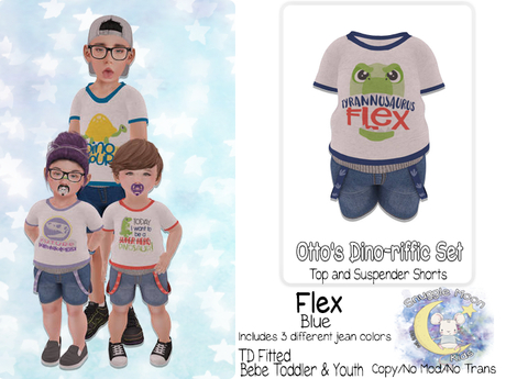 {SMK} Otto's Dino-riffic Set | Flex - Blue | Bebe Toddler & Youth + Toddleedoo Fitted