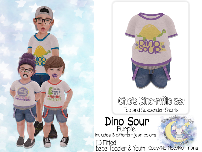 {SMK} Otto's Dino-riffic Set   Dino Sour - Purple   Bebe Toddler & Youth + Toddleedoo Fitted
