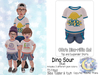 {SMK} Otto's Dino-riffic Set | Dino Sour - Blue | Bebe Toddler & Youth + Toddleedoo Fitted