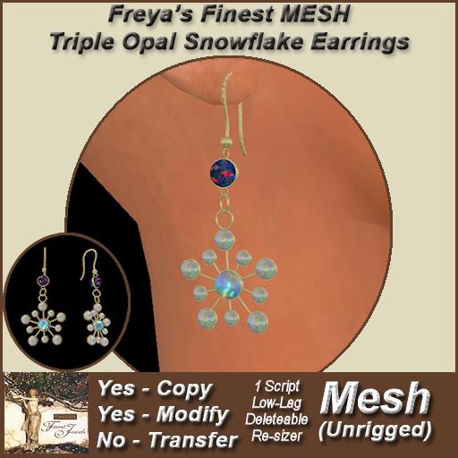 Freya's Finest MESH Triple Opal Snowflake Earrings