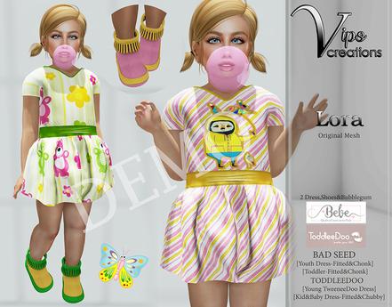[Vips Creations] - DEMO - Original Mesh Kid Dress-[Lora]FITTED