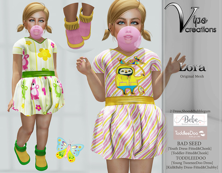 [Vips Creations] - Original Mesh Kid Outfit - [Lora 2]FITTED-Kids Dress