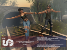 ACT5-612-Couple Holding Hands Railroad Tracks Pose BOXED