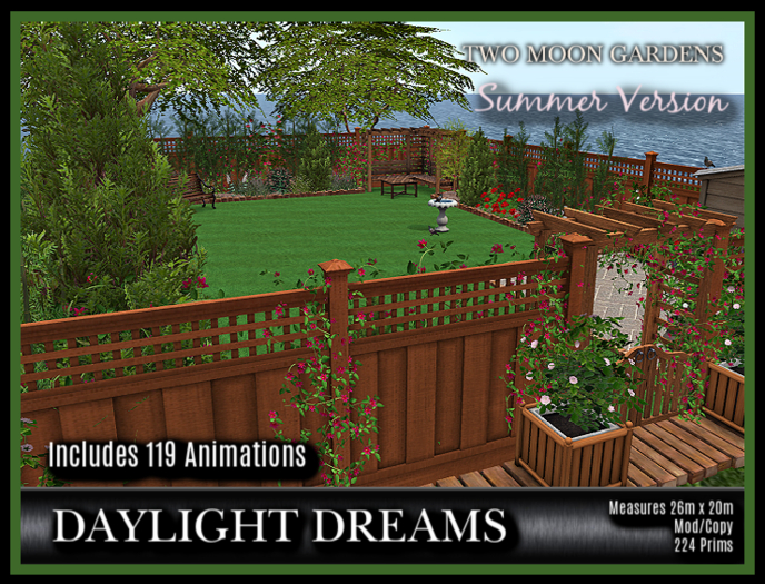 PROMO - TMG - DAYLIGHT DREAMS* Backyard Garden with 119 Animations