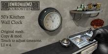 Eclectica Curiosities 50's Kitchen Wall Clock-black