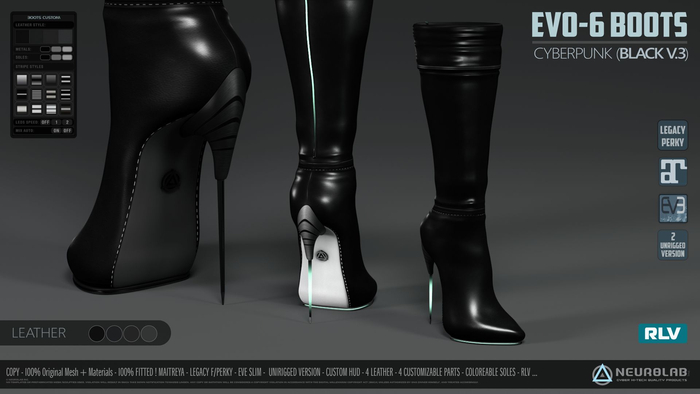 EVO-6 BOOTS (Black Cyberpunk Edition) [NeurolaB Inc.] Fashion