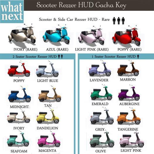 {what next} Azul Scooter & Side Car Rezzer HUD RARE