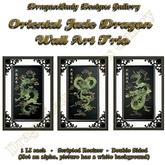 Oriental Jade Dragon Wall Art Trio