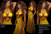 BD-Cayla gold evening gown sexy slit dress flexi skirt waterfall collar erotic outfit