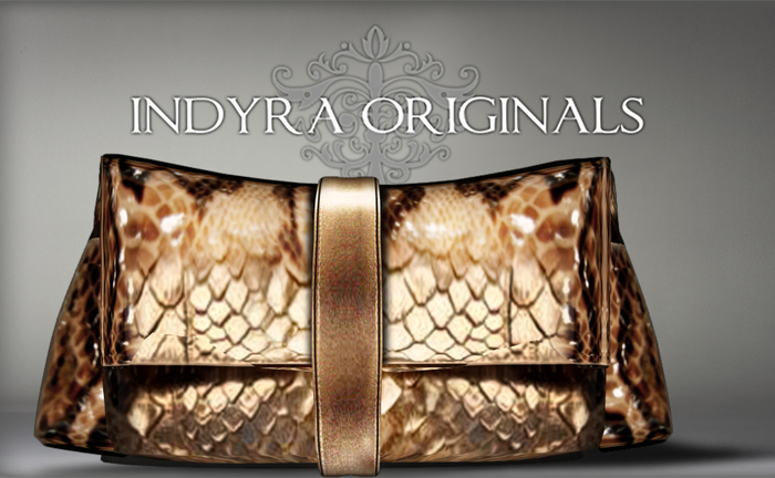 {Indyra Classics} Snake Skin Clutch-Gold