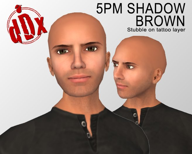 -dDx- 5pm Shadow - Brown Tattoo-layer Stubble