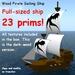 23 prim full-sized dark wood pirate sailing ship