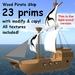 23 Prim full-sized light wood pirate sailing ship