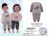 {SMK} Good Night PJs | Unicorn | Bebe Toddler & Youth + Toddleedoo Fitted