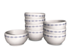 Dutchie mesh white porcelain bowls with blue decoration, divided in 2 stacks and 1 single bowl