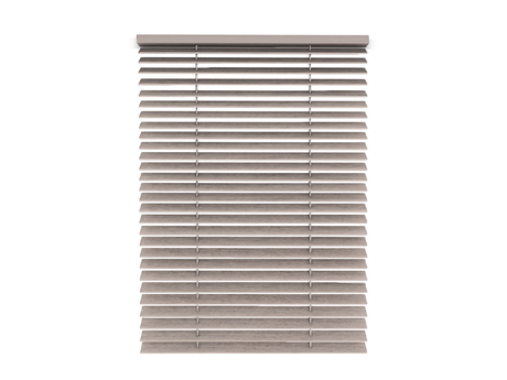 Dutchie white painted wooden mesh blinds, pulled up or down with a mouseclick