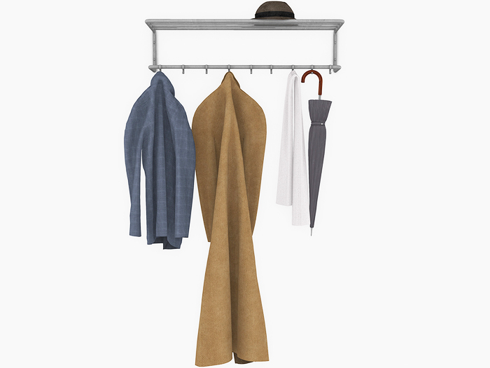 Dutchie mid-century modern or industrial mesh coat rack with hanging coat, jacket, scarf, umbrella and hat