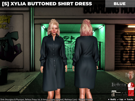 [S] Xylia Buttoned Shirt Dress Blue